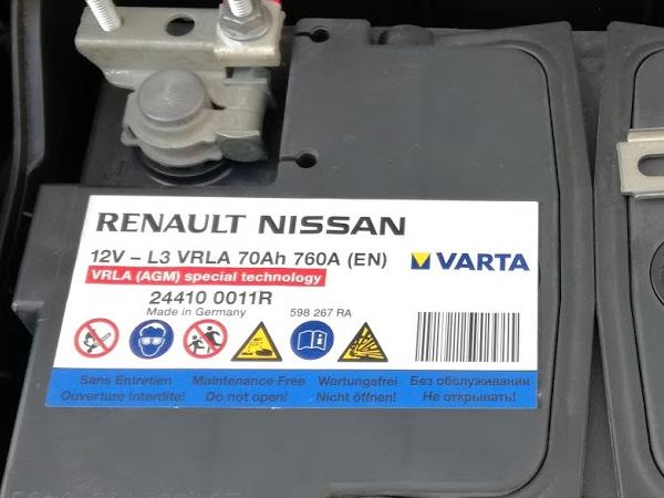 ルーテシア4の純正バッテリー