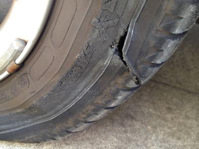 punctured tire